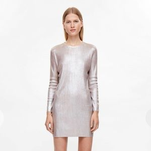 COS Dusty Pink Metallic Coated Dress
